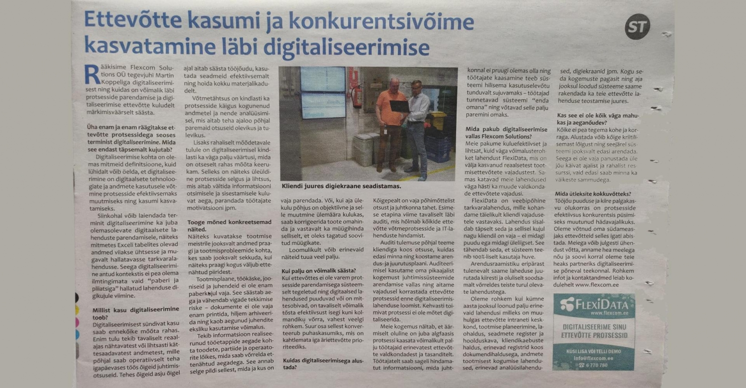 "WE SHARED OUR THOUGHTS ABOUT DIGITALIZATION IN NEWSPAPER ""HARJU ELU""."